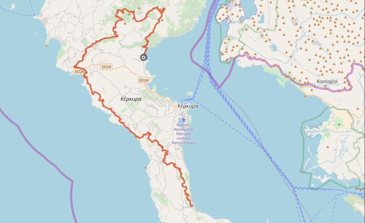 corfu mountain trail course map 1190