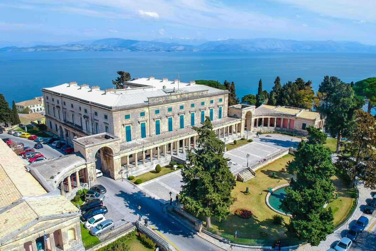 glyfa beach villas seaside front map points corfu old town spianada asian art museum