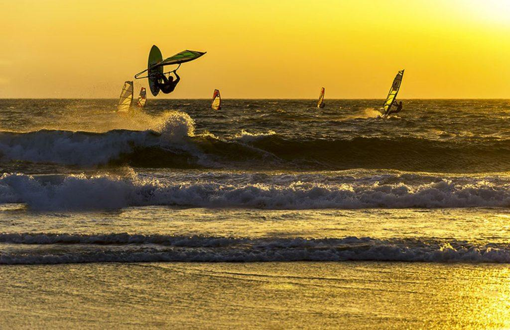 nowboat activities Windsurf windsurfers sunset waves by Oksana Ph